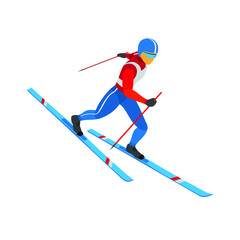 Winter sports - skiing. Athlete in red, white and blue - colors of Russia, USA, France. Cartoon skier running downhill. 3D isometric vector clip art isolated on white background.