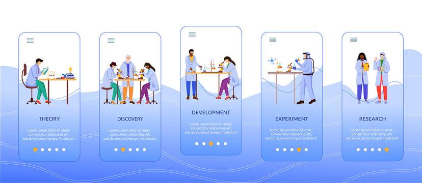 Methods of scientific research onboarding mobile app screen vector template. Work of scientist. Walkthrough website steps with flat characters. UX, UI, GUI smartphone cartoon interface concept