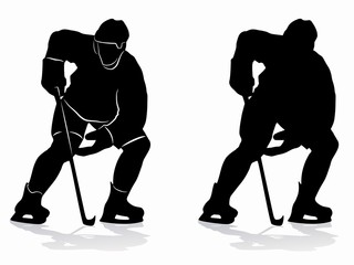 silhouette ice hockey player, vector drawing