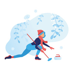 Curling game winter sport illustration. girl pushes a stone to the center. Outdoor snow games, cartoon character. frozen plants isolated background. Vector