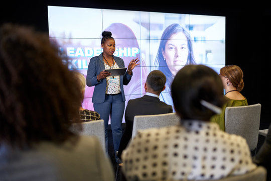 Female-driven presentation by pretty millennial African American