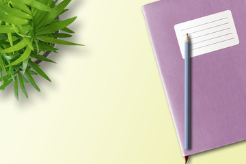 directly above shot of notebook or exercise book with blank adhesive label and pencil on desk with green potted plant, education concept