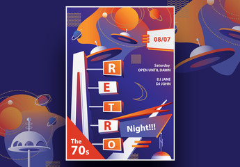 Mid-Century Retro Party Flyer Layout with Sci-Fi Elements