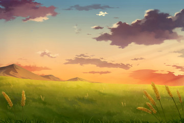 Afternoon sunset sky clouds - Anime Background.