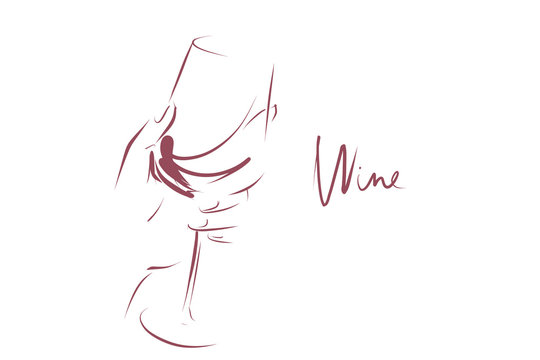 Glass of wine in woman's hand. Hand drawn and calligraphic design elements on the theme of wine tasting. Vector
