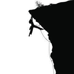 A vector silhouette of a female rock climber.