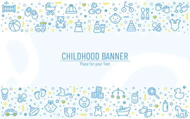Baby banner with line icons. Vector background.