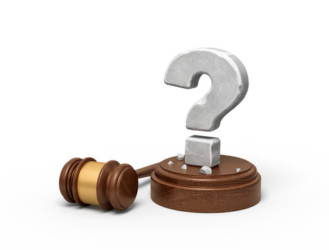 3d rendering of hefty stone question mark standing on sounding block with gavel beside.