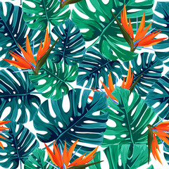 Exotic tropical pattern with monstera leaves and strelizia bird of paradise flowers . Natural seamless background.