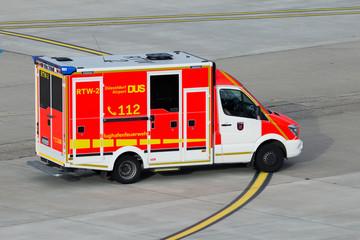 Dusseldorf Airport fire brigade van responding to an emergency on December 21, 2015