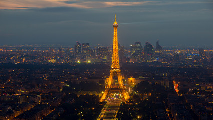 Evening view on Paris and the illuminated Eiffel Tower on June 17, 2015