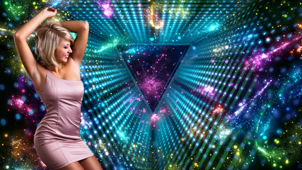 blonde woman dancing in front of colorful background