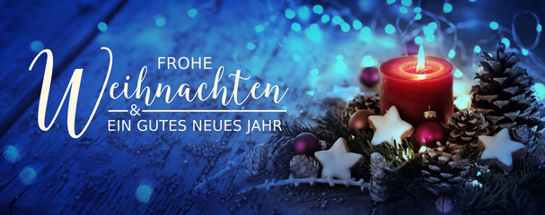 Fototapeten Panoramafotos Christmas Card - German text - Merry Christmas and Happy New Year