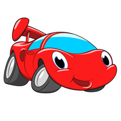 Cartoon red car. A race car on a white background.
