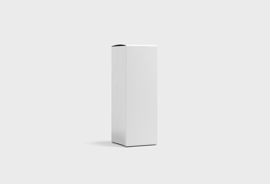 Blank White Wine Box Mock up on light gray background.Cardboard Box. 3D rendering.