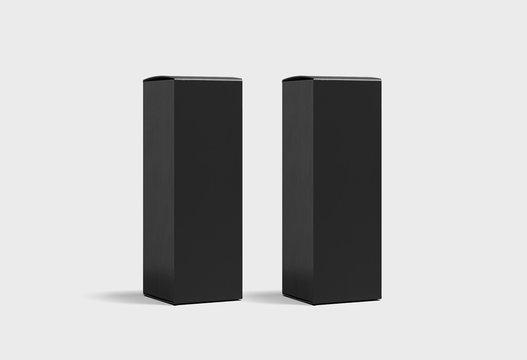 Blank Black Wine Boxes Mock up on light gray background.Cardboard Box. 3D rendering.