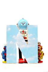 Fototapete - big letter  N cloud computing