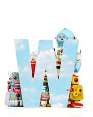 Wall Mural - big letter  W  cloud computing