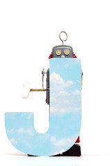 Fototapete - big letter  J cloud computing