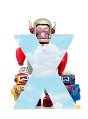 Wall Mural - big letter X cloud computing