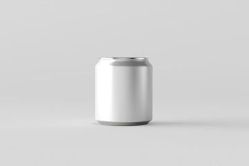 Blank silver Soda Can Mock up on light gray background. Tin package of beer or drink.3D rendering
