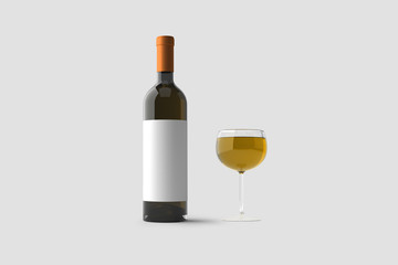 Glass of White Wine and a Bottle with label isolated on light gray background.3D rendering.