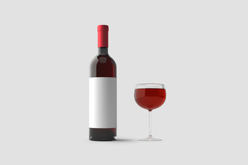 Glass of Red Wine and a Bottle with label isolated on light gray background.3D rendering.