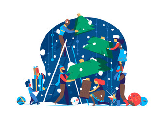 People prepare to celebrate Christmas / New Year by making Christmas tree together - Vector