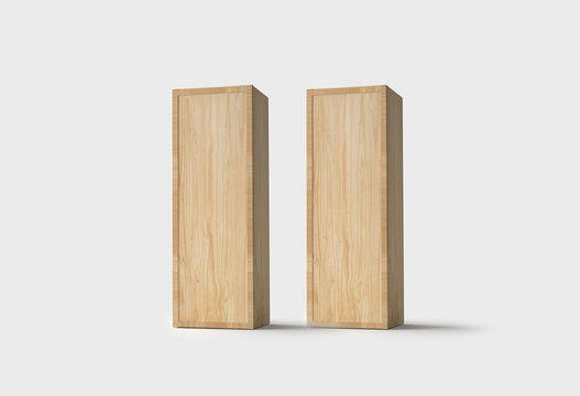 Wood Wine Boxes  isolated on light gray background.3D rendering.