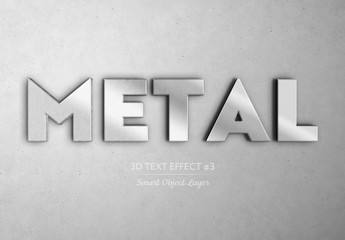 Silver Brushed Metal 3D Text Effect