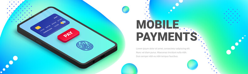 Mobile payment isometric banner design. 3d smartphone with credit card, fingerprint, button pay on screen on fluid abstract background. Online money transaction vector illustration for web, app, ad