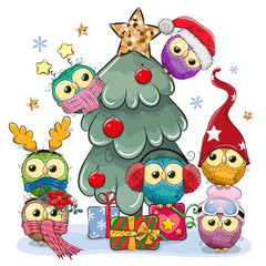 Cartoon Owls near the Christmas tree