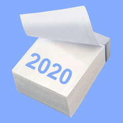 Paper calendar and 2020 on blue background