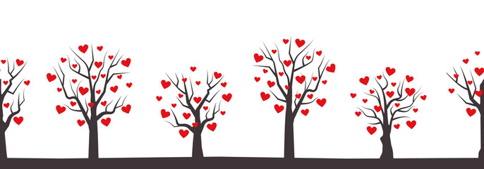 Background for Valentines day. Seamless border. Silhouettes of trees with red hearts in the picture. Vector illustration