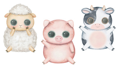 Set with kawaii cartoon cute pig, sheep and cow with big eyes isolated on white background. Watercolor hand drawn illustration
