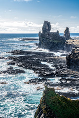 Londrangar basalt rock monolith at the southcoast of Snaefellsness peninsula in western Iceland, landscape photography