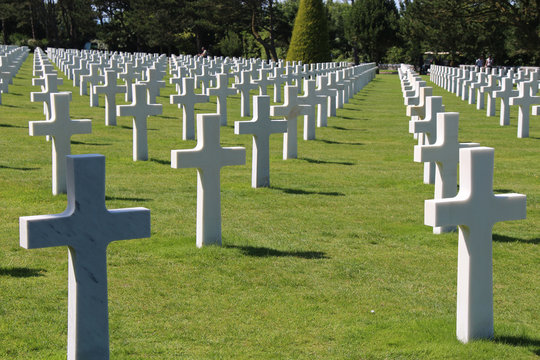 american military cemetery in Colleville-sur-Mer in Normandy (France)
