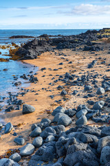 the only red beach in Iceland is the beach of Budir, covered from black volcanic rocks, landscape photography