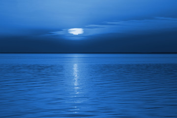 Blue night on lake. Color of the year 2020 Classic Blue pantone