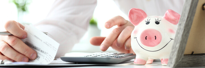 Funny nice piggybank and male business in background evaluating expenses