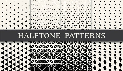 Garden Poster Pattern black and white geometric seamless halftone pattern set