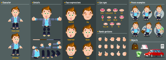 Cartoon young businessman constructor for animation. Parts of body: legs, arms, face emotions, hands gestures, lips sync. Full length, front, three quarter view. Set of ready to use poses,