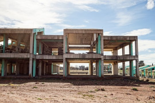 Storehouse under construction in Greece with columns which has not been completed