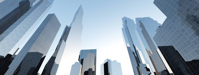 Skyscrapers, high-rise buildings, beautiful view from below against the sky. 3d rendering. Fotomurales