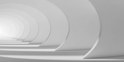 Abstract white tunnel interior 3d