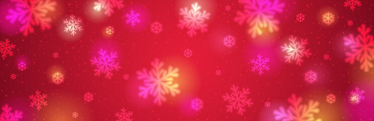 Wall Mural - Red christmas banner with white blurred snowflakes. Merry Christmas and Happy New Year greeting banner. Horizontal new year background, headers, posters, cards, website. Vector illustration