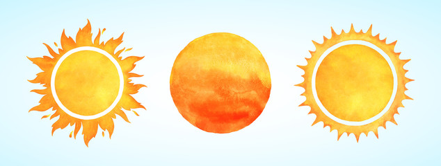 Watercolor vector sun shapes. Rising sun, sunset, dawn illustrations set. Fire colors round shape, watercolour stains. Orange red yellow circle, flaming crown frame. Maslenitsa, Shrovetide background. Fotomurales