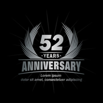 52 years logo design template. Anniversary vector and illustration template.