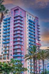 Wall Mural - Colorful California Coastal Condo Tower at Dawn