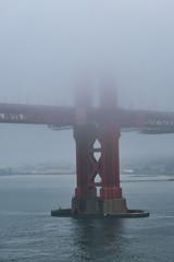 Base of Tower on Golden Gate in Fog